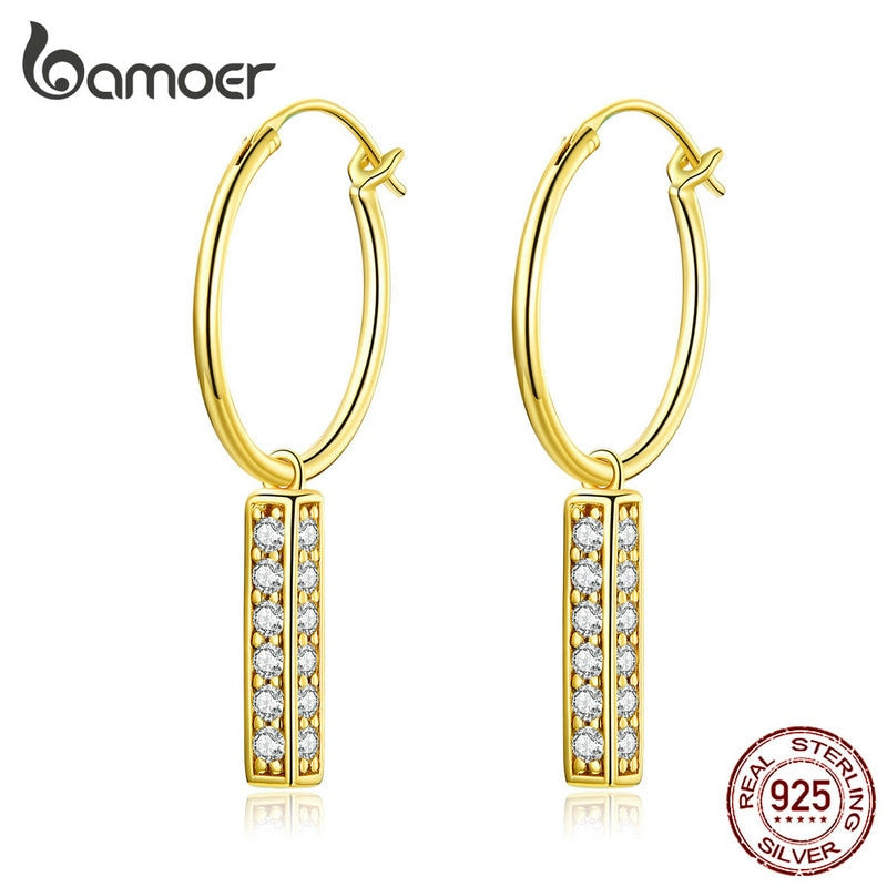 bamoer 925 Sterling Silver Dangle Earrings with Charm Statement  Wedding Drop Earring for Women Brincos 2019 New Bijoux BSE296