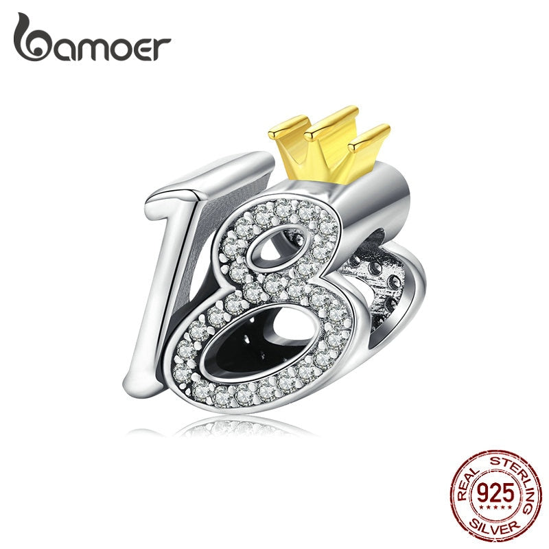 bamoer Genuine 925 Sterling Silver Charm for Bracelet & Bangle 18-year-old Adult Ceremony Bead with Clear CZ DIY Jewelry BSC131
