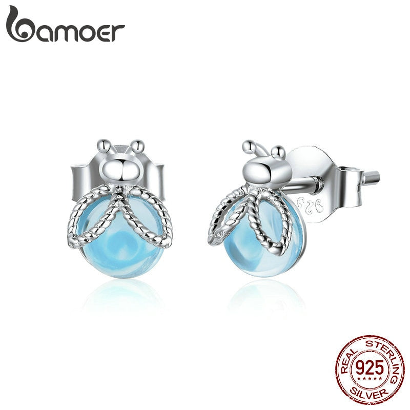 bamoer Genuine 925 Sterling Silver Insect Fireflies Stud Earrings for Women Original Design Fine Jewelry Bijoux Brincos BSE366