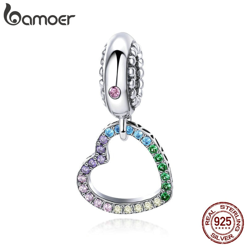 BAMOER Romantic New 925 Sterling Silver Rainbow Heart Shape Charms Beads fit Bracelets Necklaces DIY Jewelry Accessories SCC896