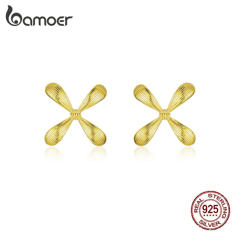 bamoer 925 Sterling Silver Gold Color Flower Petals Stud Earrings for Women Fashion Jewelry Bijoux New Design BSE305