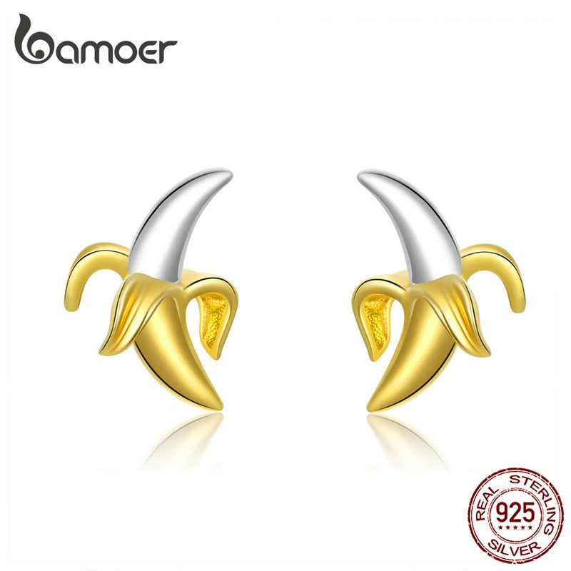 bamoer Fruit Banana Stud Earrings for Women Funny Design 925 Sterling Silver Korean Gold Color Fashion Jewelry Ear Pins SCE731