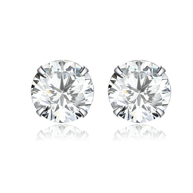bamoer 5 Colors Cubic Zirconia Stud Earrings for Women 925 Sterling Silver Wedding Engagement Stud Jewelry Brincos BSE166