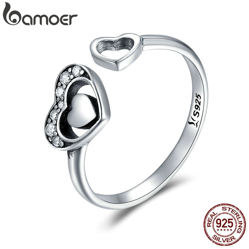 BAMOER 925 Sterling Silver Heart in Heart Pave CZ Open Finger Ring Crystal Rings for Women Authentic Silver Jewelry Gift SCR168