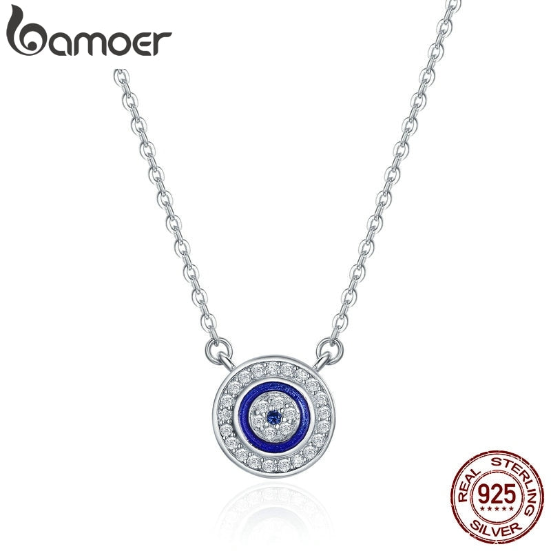 BAMOER Hot Sale 100% 925 Sterling Silver Lucky Blue Eye Clear CZ Pendant Necklace Women Luxury Sterling silver Jewelry SCN165
