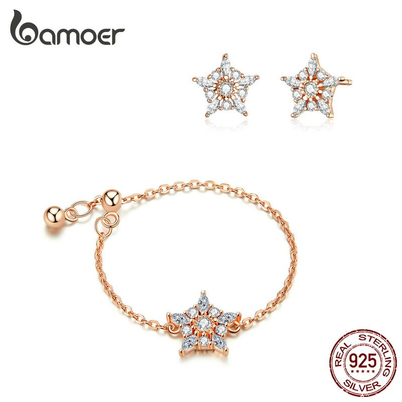bamoer Flower Chain Ring and Stud Earrings for Women Rose Gold Color 925 Sterling Silver Fashion Jewelry Gift Accessories ZHS167