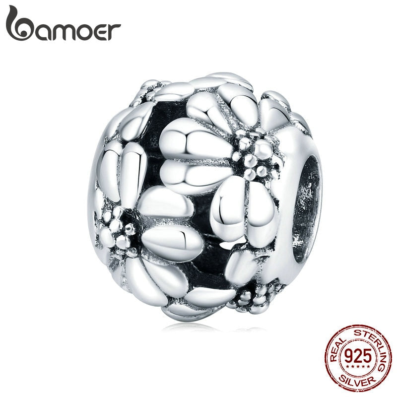 bamoer Real 925 Sterling Silver Metal Flower Round Beads for Women Jewelry Making Charm fit Original Silver Bracelet SCC1487