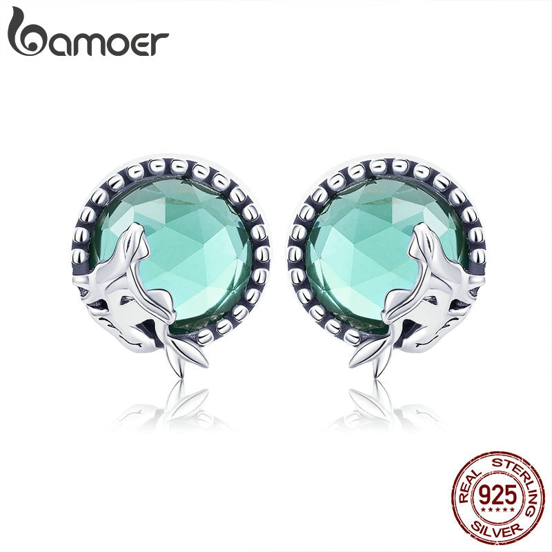 BAMOER New Collection Romantic 925 Sterling Silver Fairy Story Light Green CZ Stud Earrings Women Sterling Silver Jewelry SCE383