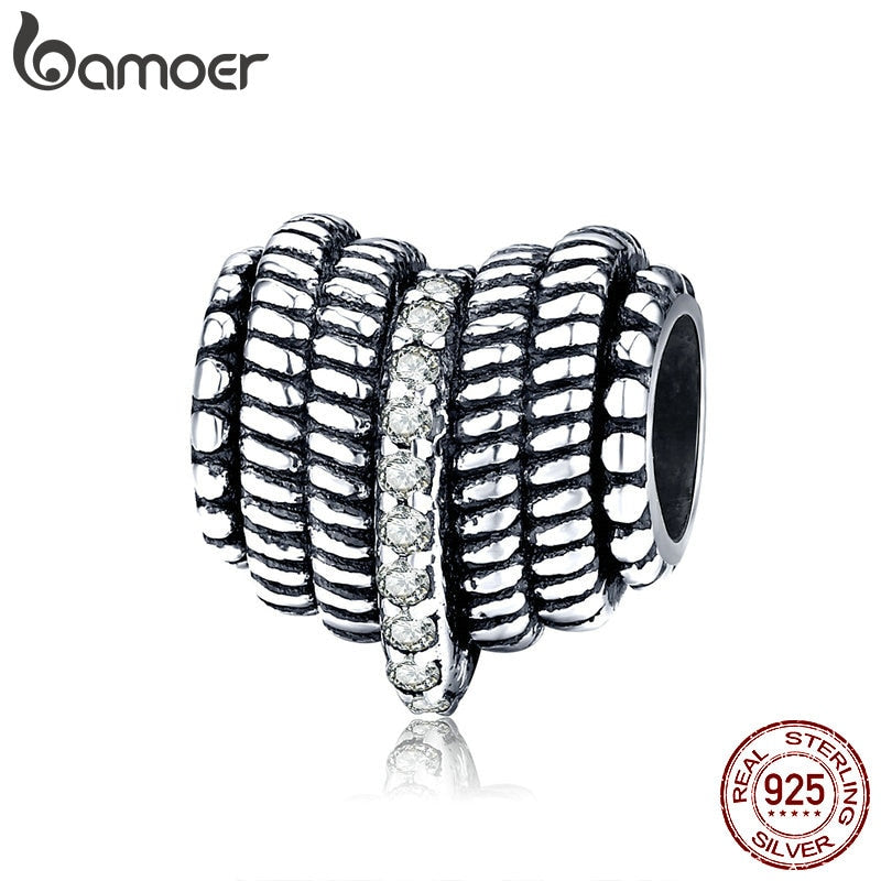 bamoer 925 Sterling Silver Vintage Heart Patterm Metal Beads Charm fit Original Bracelet for Women Jewelry Accessories SCC1470
