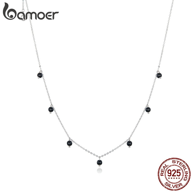 bamoer Black Crystal Round Beads Chain Necklace for Women Real 925 Sterling Silver Design Jewelry 2020 New Design SCN392