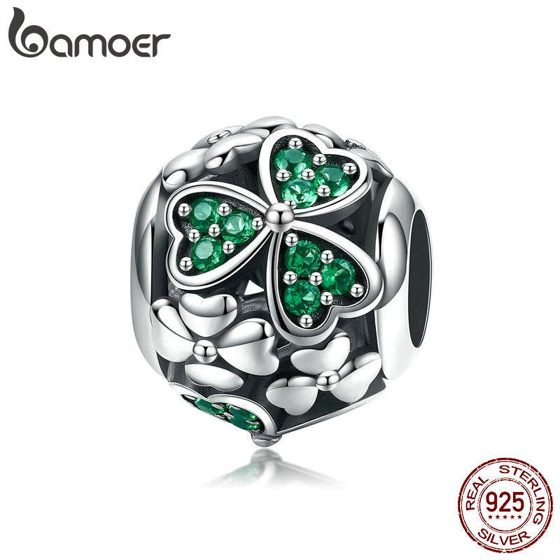 BAMOER Authentic 925 Sterling Silver Shamrock Flower Green Crystal Beads Charm fit Charm Bracelet Necklace Jewelry Making SCC964