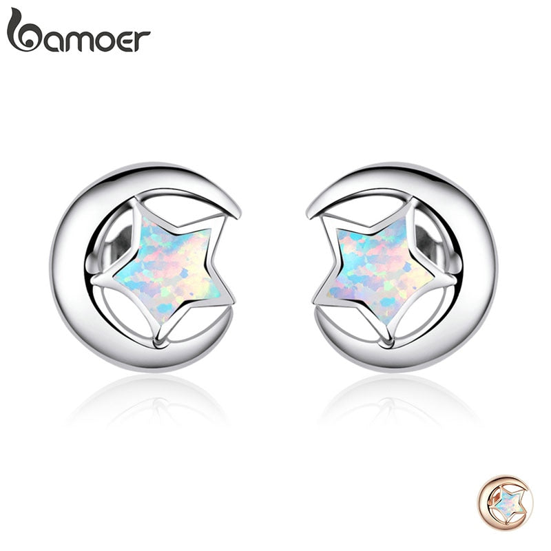 bamoer Genuine 925 Sterling Silver Moon and Star 2 Colors Opal Stud Earrings for Women Wedding Statement Jewelry Boucles SCE816
