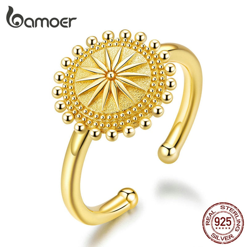 bamoer Sun Compass Finger Rings Gold Color Adjustable Ring 925 Sterling Silver Fashion Jewelry Size for 6 7 8 9 Bijoux SCR580