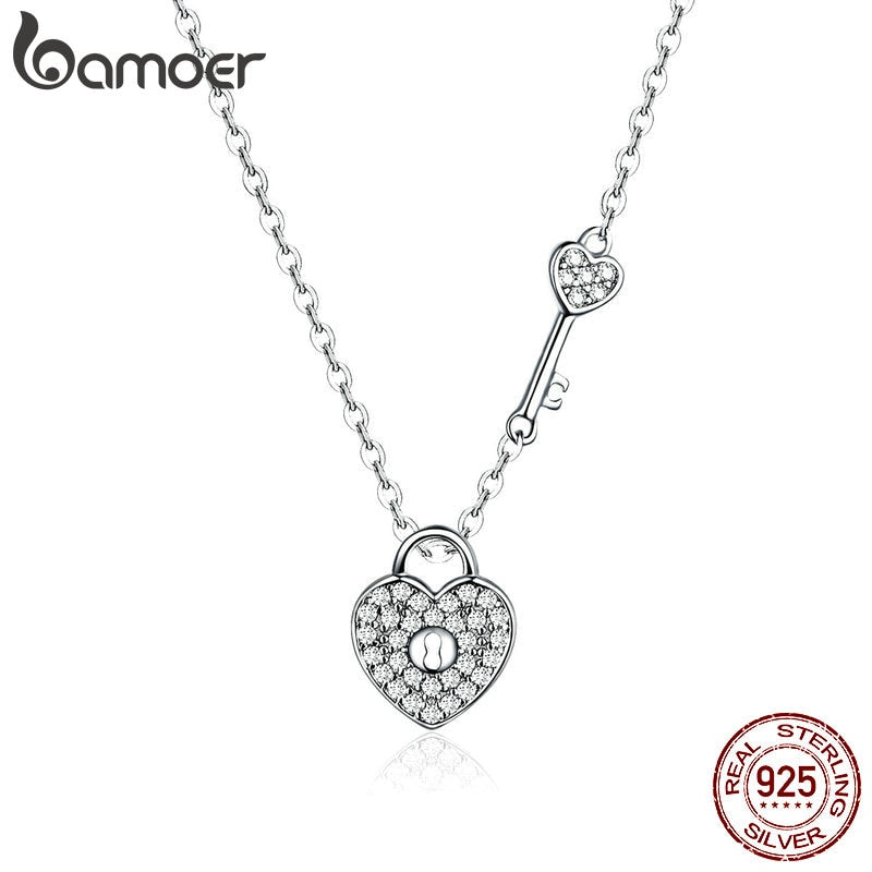 BAMOER Pure 925 Sterling Silver Clear CZ Heart Lock and Key Link Chain Choker Necklace for Women Luxury Statement Jewelry SCN315