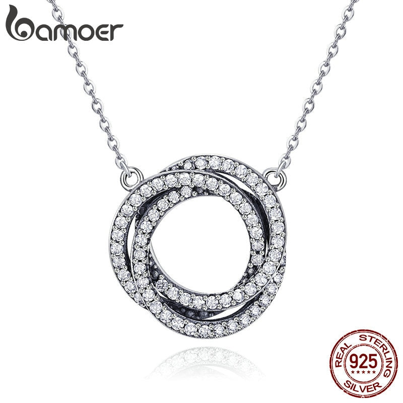 BAMOER Real 925 Sterling Silver Minimalism Elegant Round Circle Clear CZ Pendant Necklaces Women Sterling Silver Jewelry SCN259