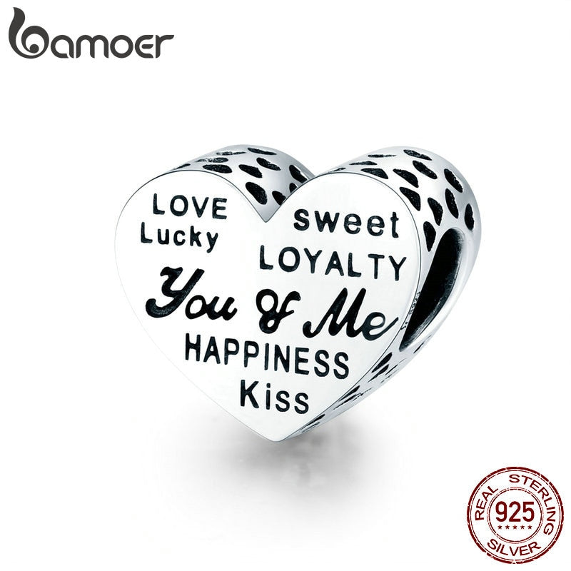 bamoer 925 Sterling Silver Heart Beads Charm for Original Bracelet Engraved Words Charms DIY Jewelry Accessories SCC1471