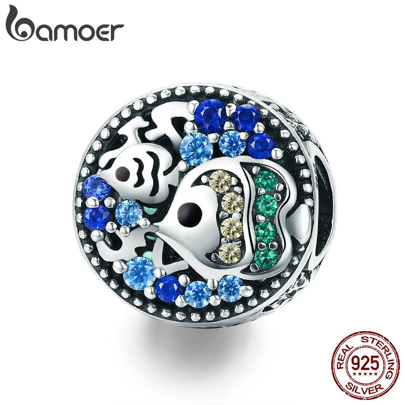 BAMOER Fashion New 925 Sterling Silver Underwater World Crystal Fish Charm Beads Fit Bracelets Necklaces Jewelry Making SCC764