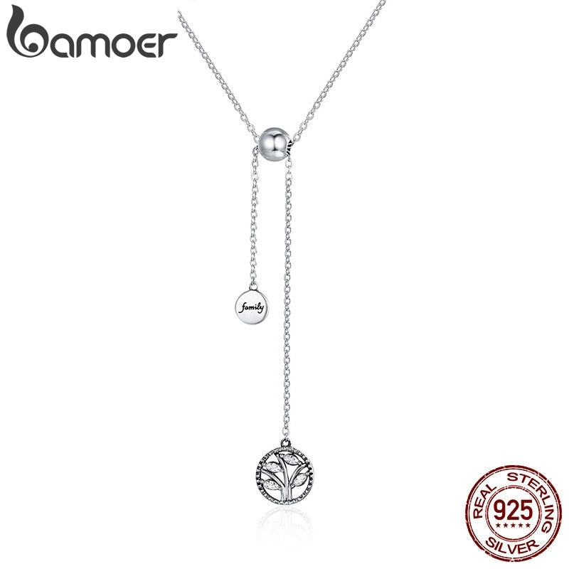 BAMOER Genuine 925 Sterling Silver Tree of Life & House Letter Link Chain Necklaces & Pendants Authentic Silver Jewelry SCN106