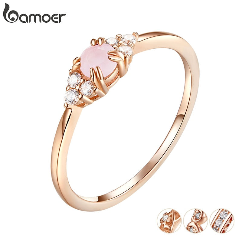bamoer Pink Crystal Finger Rings for Women Rose Gold Color Authentic 925 Stelring Silver Band Ring Luxury Fine Jewelry SCR534