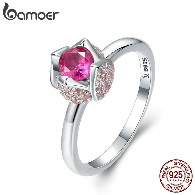 BAMOER 925 Sterling Silver Romantic Rose Flower with You Pink Cubic Zircon Finger Rings for Women Wedding Silver Jewelry SCR455