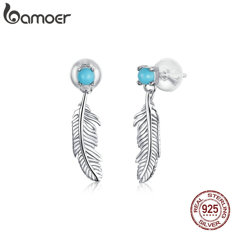 bamoer Bohemia  Style Feather Tiny Drop Earrings for Women 925 Sterling Silver Jewelry Fine Bijoux Brinco Pendientes BSE375