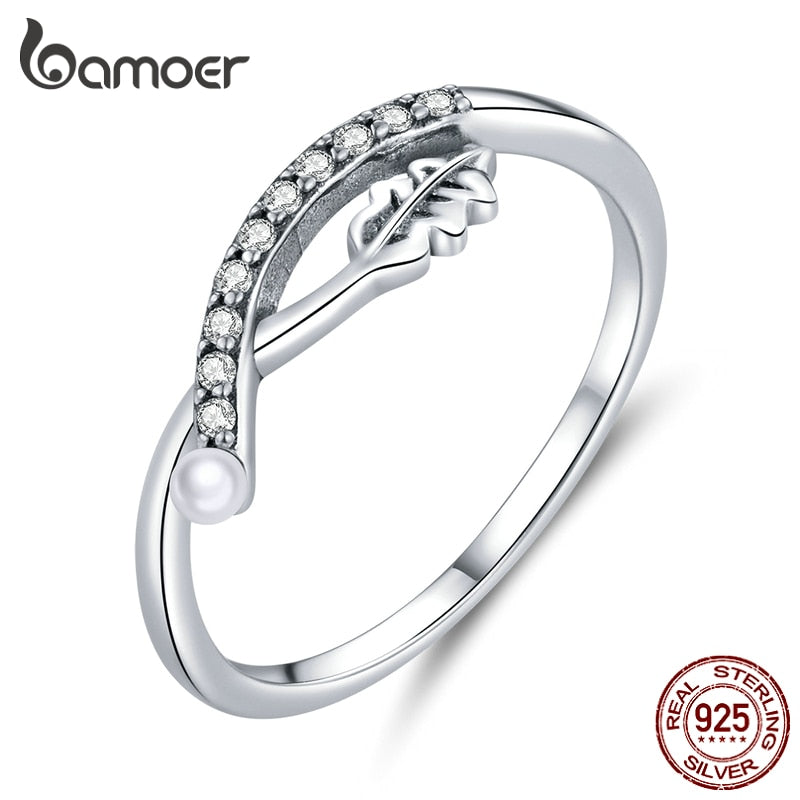 bamoer 925 Sterling Silver Leaf Finger Rings for Women Clear CZ Paved Korea Style Hypoallergenic Fashion Jewelry  BSR111