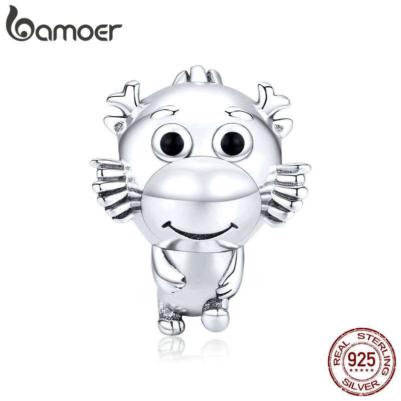 bamoer Little Dragon Metal Beads for Women Jewelry Making 925 Sterling Silver Charm fit Original Bracelet & Bangle SCC1489