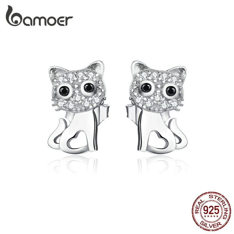 bamoer Sterling Silver 925 Cute Kitty Stud Earrings for Women Clear CZ Cat Lover Gifts Gifts Luxury Statement Jewelry SCE797