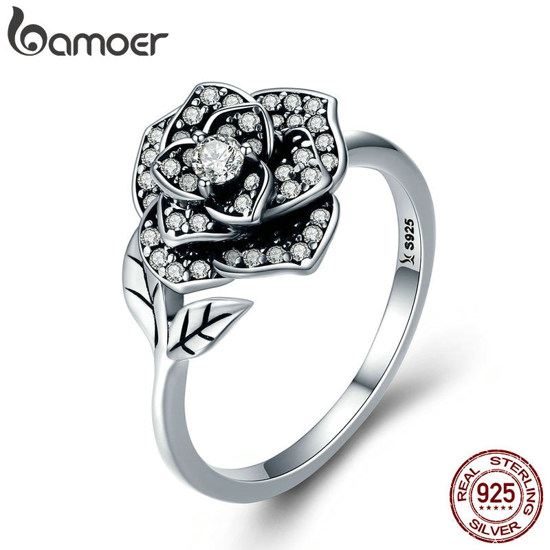BAMOER 100% 925 Sterling Silver Rose Flower Dazzling CZ Tree Leaf Finger Rings for Women Wedding Engagement Jewelry Gift SCR382