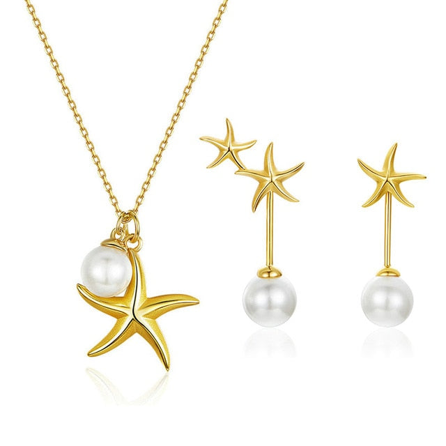 bamoer Summer Hot Sale Starfish with Pearl Jewelry Sets Gold Color Korean Style 925 Sterling Silver Fashion Jewelry ZHS154