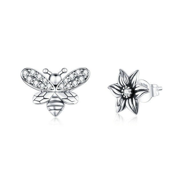 bamoer 925 Sterling Silver Stud Earrings for Women Bees and Retro Flower Ear Pins Female Anti-allergy Gifts for Girl SCE884