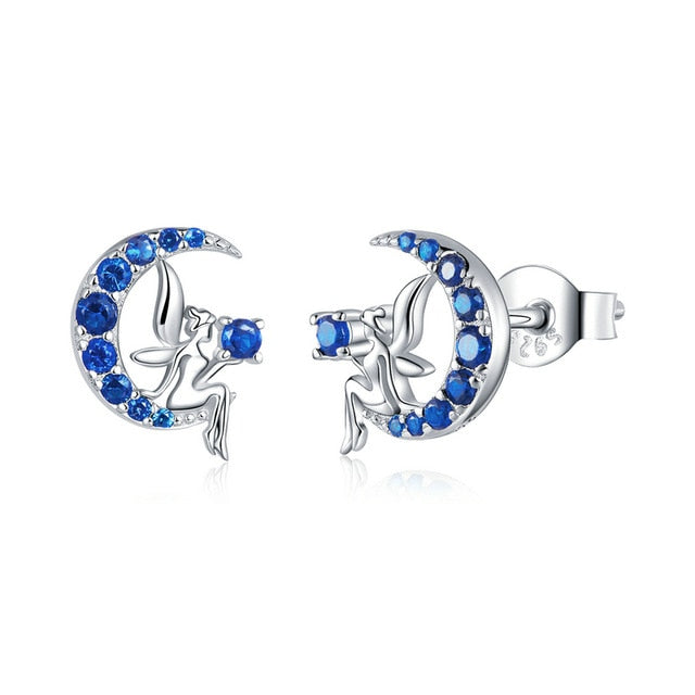 bamoer Authentic 925 Sterling Silver Fairy on the Blue Moon Stud Earrings for Women Cute Anti-allergy Silver Jewelry BSE376