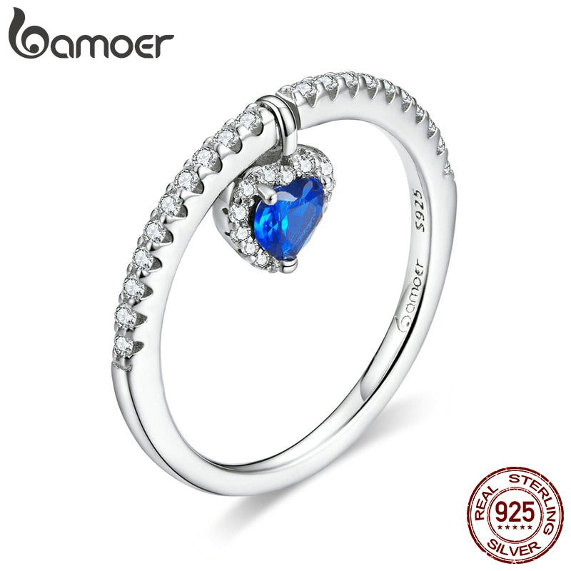 bamoer Authentic 925 Sterling Silver Blue Heart CZ Tiny Pendant Finger Rings for Women Engagement Statement Jewelry BSR117