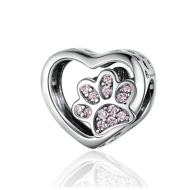 BAMOER Cat Love Heart-shape Charm 925 Sterling Silver Paw Footprints Heart Charms for Bangle Bracelet Fine Jewelry SCC1191