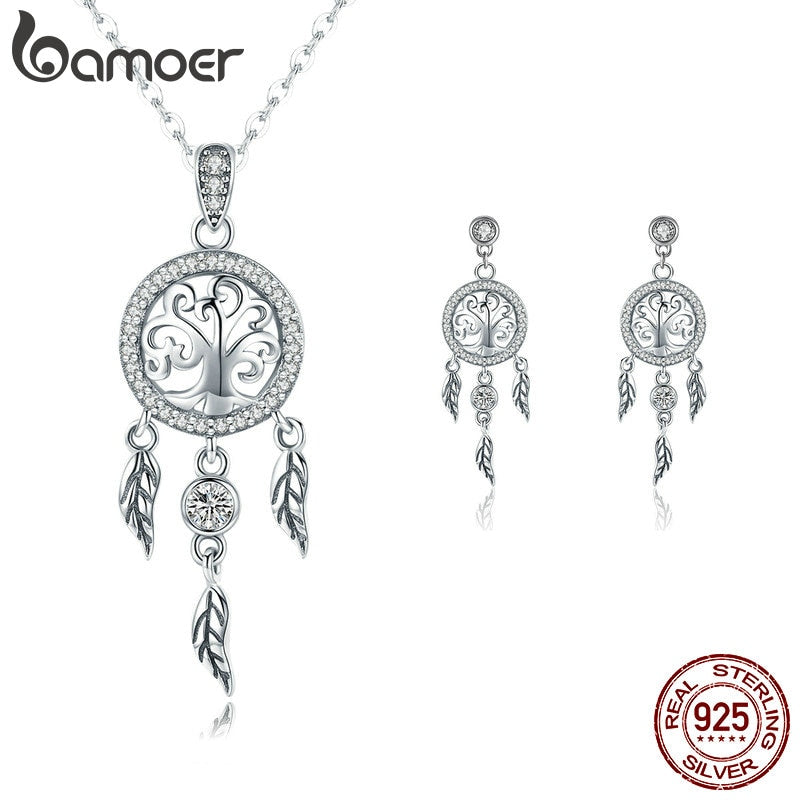 BAMOER Authentic 925 Sterling Silver Tree of Life Dream Catcher Necklaces Pendant Jewelry Set Sterling Silver Jewelry Gift