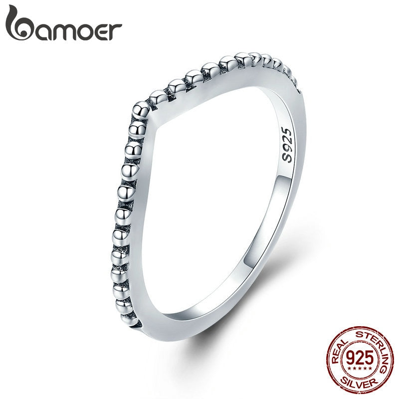BAMOER 100% Authentic 925 Sterling Silver Water Droplet Female Finger Rings for Women Engagement Jewelry Girlfriend Gift PA7648