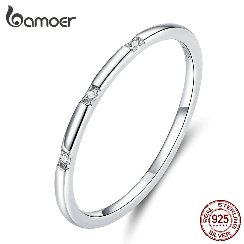 bamoer Simple Minimalist Finger Rings for Women 925 Sterling Silver Stackable Band Fashion Silver 925 Statement Jewelry SCR591