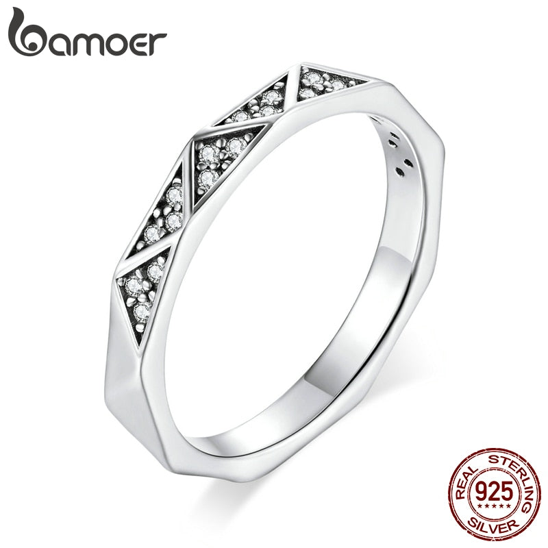 bamoer Sterling Silver 925 Geometric Minimalist Finger Rings for Women Korean Style Fine Jewelry Accessories Anillo SCR654