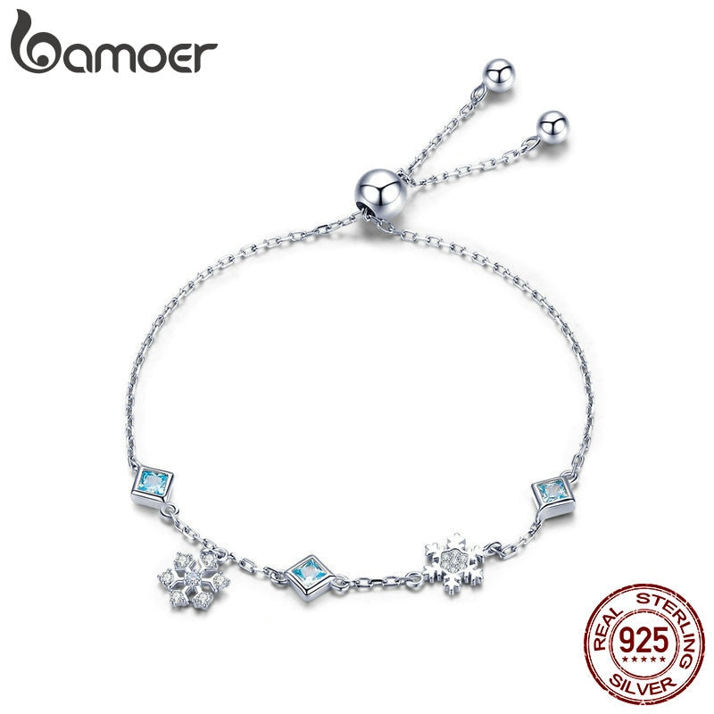 BAMOER New Collection 925 Sterling Silver Winter Snowflake Women Bracelets Chain Link Bracelet Sterling Silver Jewelry BSB001