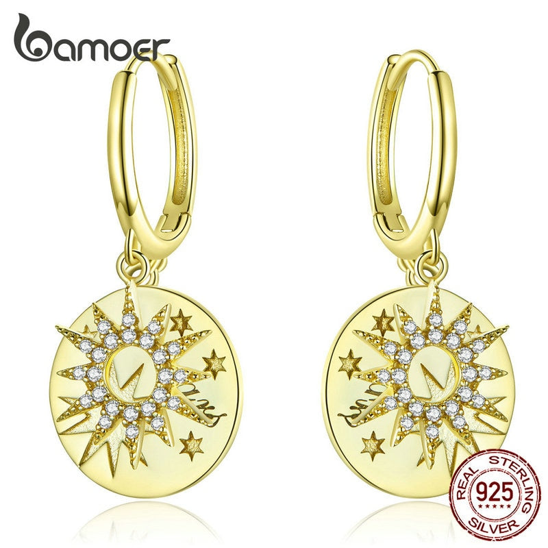 bamoer Golden Stars Round Dangle Earrings with Charm Genuine 925 Sterling Silver Wedding Statement Luxury Jewelry BSE260