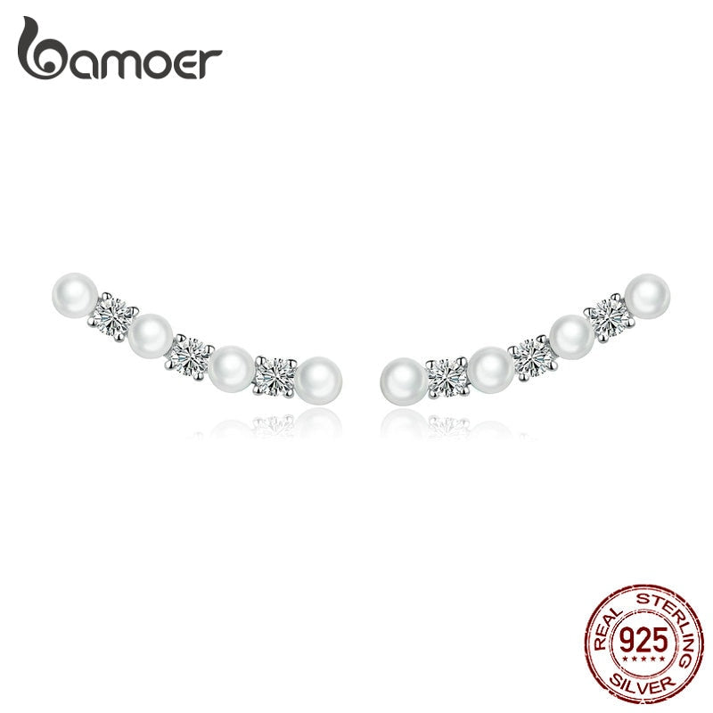 BAMOER Pearl Long Stud Earrings for Women 925 Sterling Silver Pearl Elegant Earrings Wedding Statement Fine Jewelry Gifts BSE118