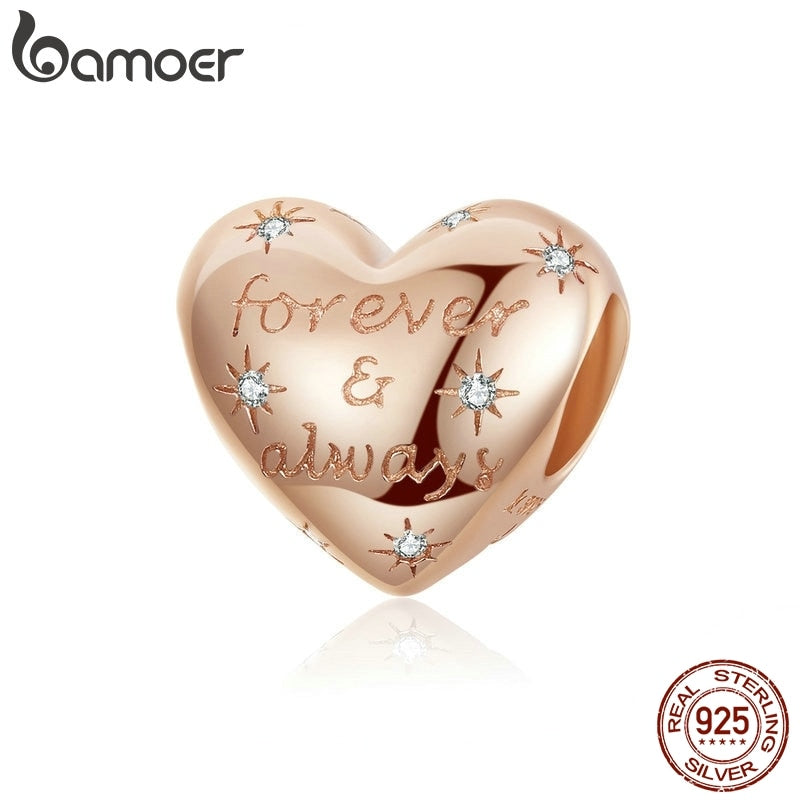 bamoer Dazzling Heart Shape Beads for Women Jewelry Making Forever Love Charm 925 Sterling Silver Charm Bracelet Bijoux SCC1223