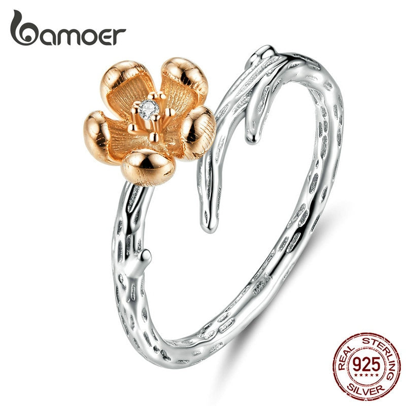 BAMOER Hot Sale Authentic 925 Sterling Silver Flower with Twisted Branch Finger Ring for Women Sterling Silver Jewelry SCR599