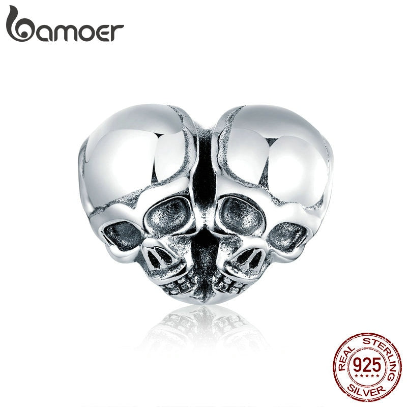 bamoer Authentic 925 Sterling Silver Punk Skulls Heart-shape Metal Charm for Bracelet or Bangle Luxury Brand Jewelry SCC1519