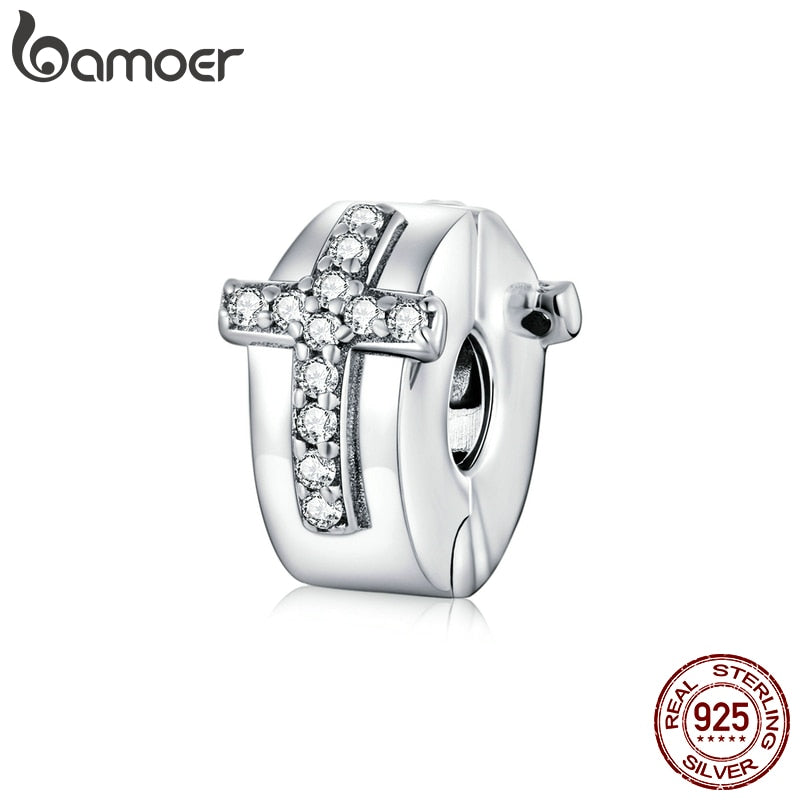 bamoer Bible Cross Clip Charm for Original Women Bracelet 925 Sterling Silver European Brand Jewelry DIY Bracelet Making SCC1497