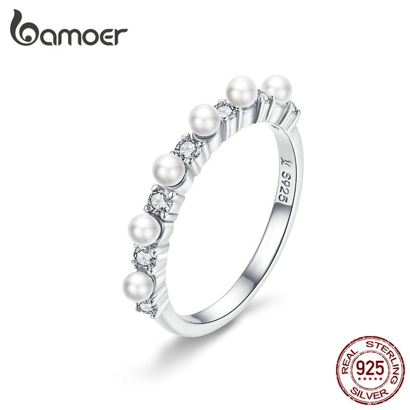 BAMOER Pearl Stackable Ring for Women White Shell Pearl Finger Rings Sterling Silver 925 Elegant Wedding Jewelry BSR039