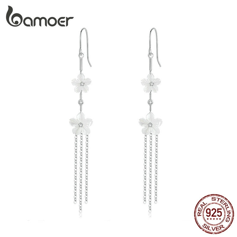 bamoer White Pure Shell Floral Long Tassel Drop Earrings for Women Genuine 925 Sterling Silver Fashion Holiday Jewelry BSE217