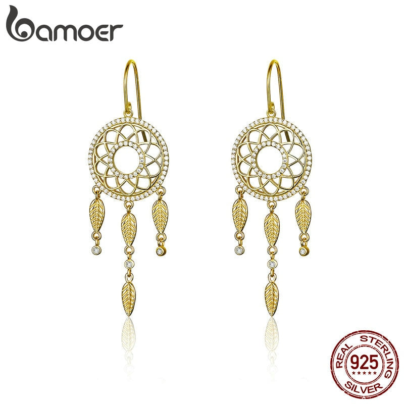 BAMOER High Quality 925 Sterling Silver Dream Catcher Gold Color Long Drop Earrings for Women Wedding Engagement Jewelry BSE044