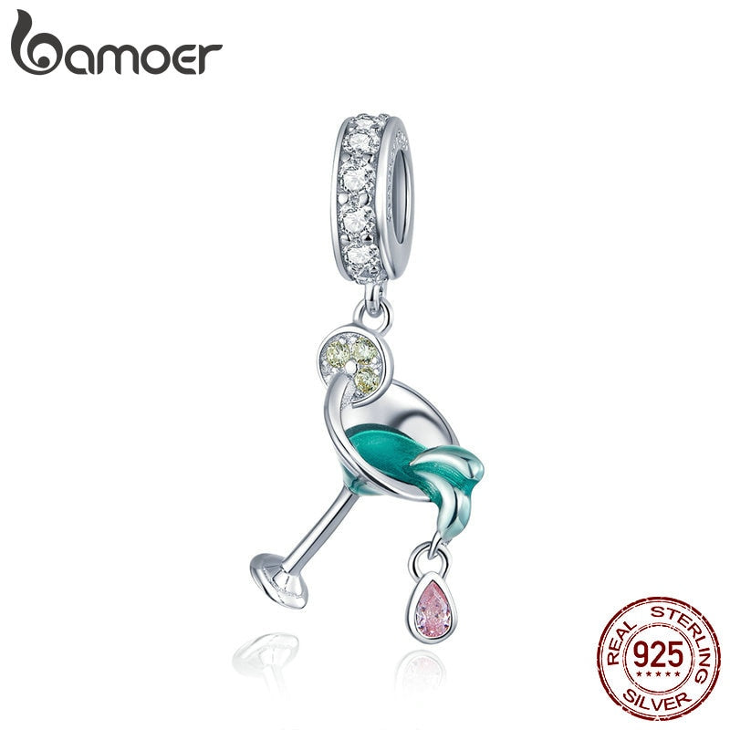 bamoer 2020 Summer Series Cocktail Pendant Charm fit Original Snake Bracelet or Necklace 925 Sterling Silver DIY Jewelry BSC262