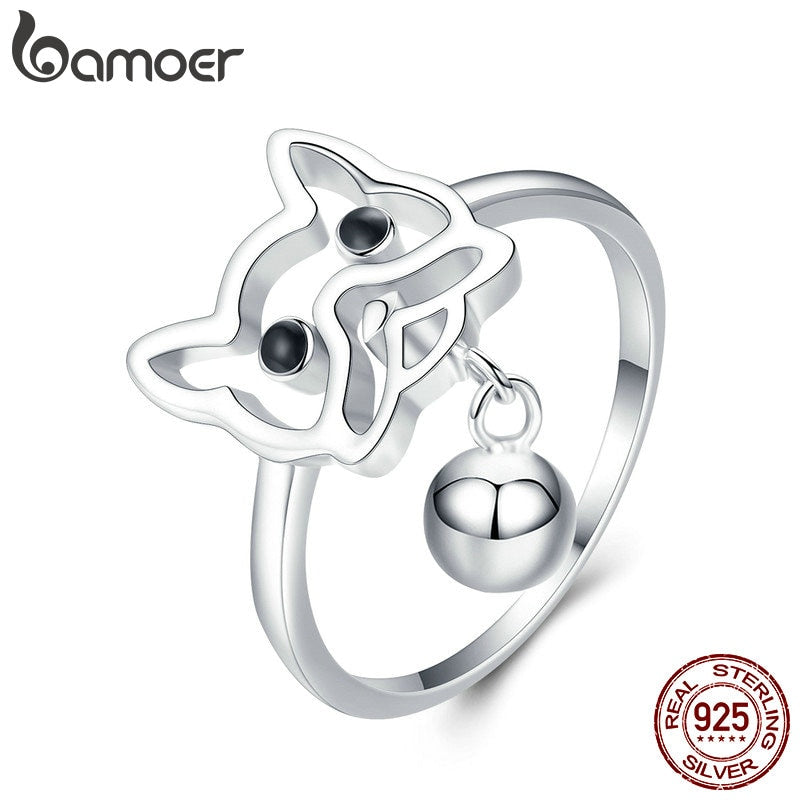 BAMOER Authentic Hot Sale 925 Sterling Silver French Bulldog Puppy Dog Finger Rings for Women Sterling Silver Jewelry SCR434